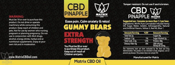 50 x Pineapple Flavour 1,500mg CBD Gummy Bears-Matrix CBD Oil