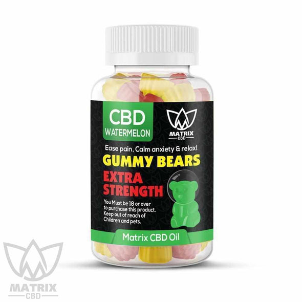 50 x Water Melon Flavour 1,500mg CBD Gummy Bears-Matrix CBD Oil