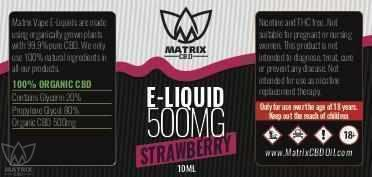 500mg - 10ml Matrix Strawberry Flavour CBD Vape E-Liquid-Matrix CBD Oil