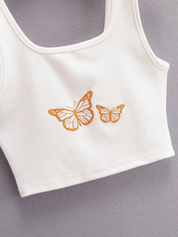 Short sleeveless sling with umbilical cord and embroidered butterfly embroidered vest