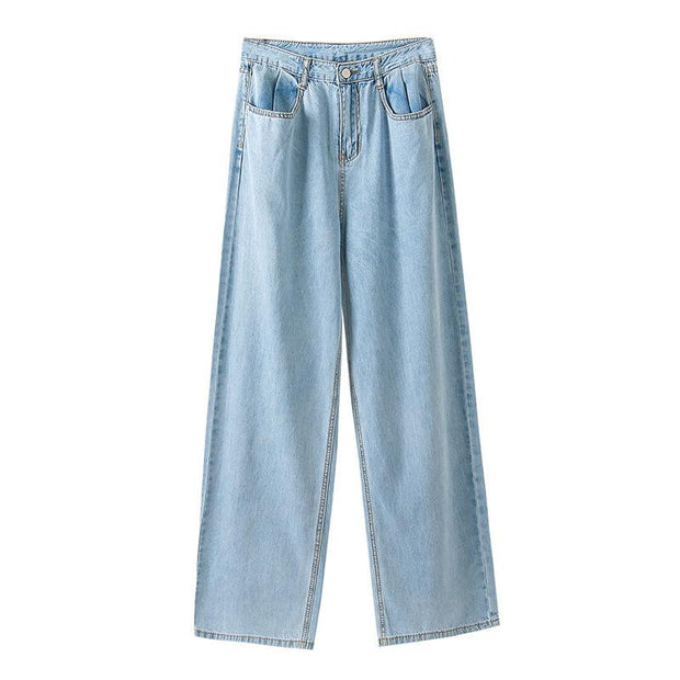 Women's fashion high waist loose thin denim trousers