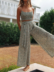 Bohemian printed knotted slacks suit