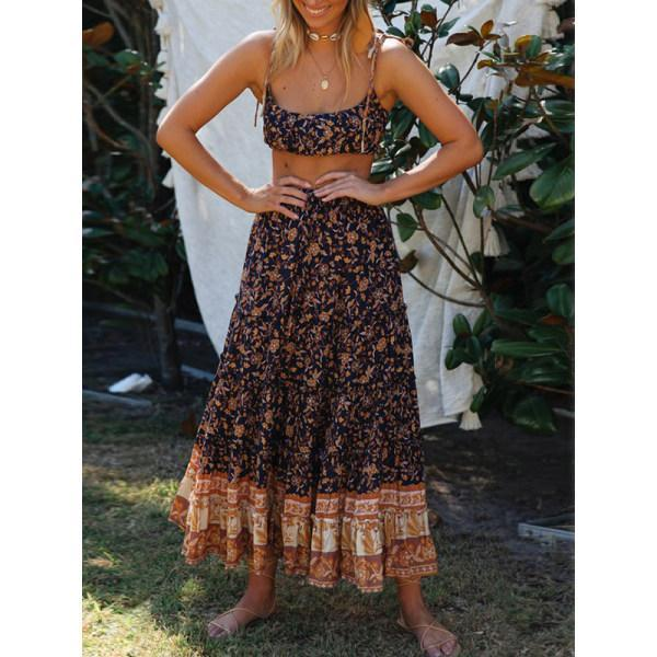 Boho print knotted two-piece set wq36