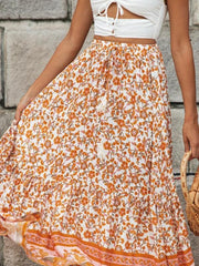 Orange flower print two-piece set