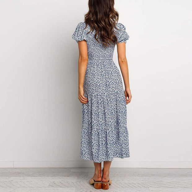 Round neck lantern sleeve floral high waist midi dress