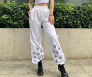 Women Stylish high waist butterfly printed casual straight pants