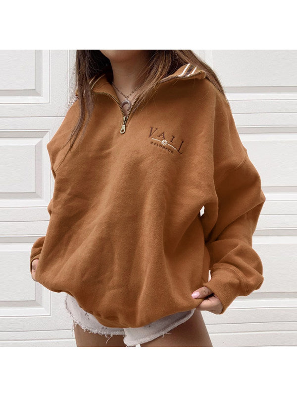 Womens Casual Standing Collar Loose Sweatshirt