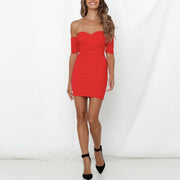 Mesh off shoulder elegant bodycon backless mini party dress