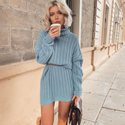 Knitted high neckline pit solid loose dress