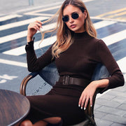 Solid Split Thigh sweater dress