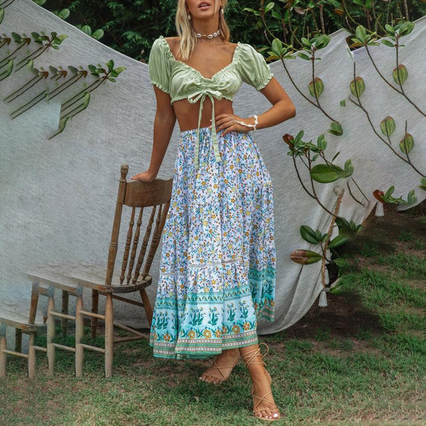 Boho printed two-piece set wq36