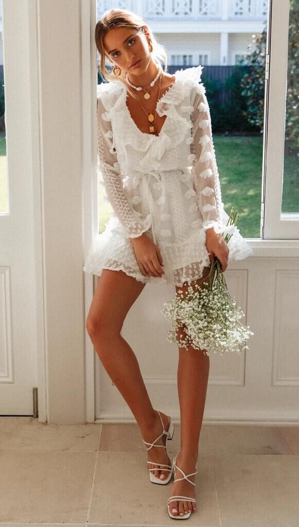 Skater Dresses Floral Print Linen Embellished Collar Flowers White Casual Long Sleeves Fit And Flare Dress