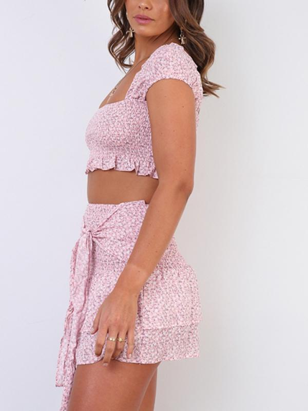 cap sleeve Shirred bodice Two-piece set