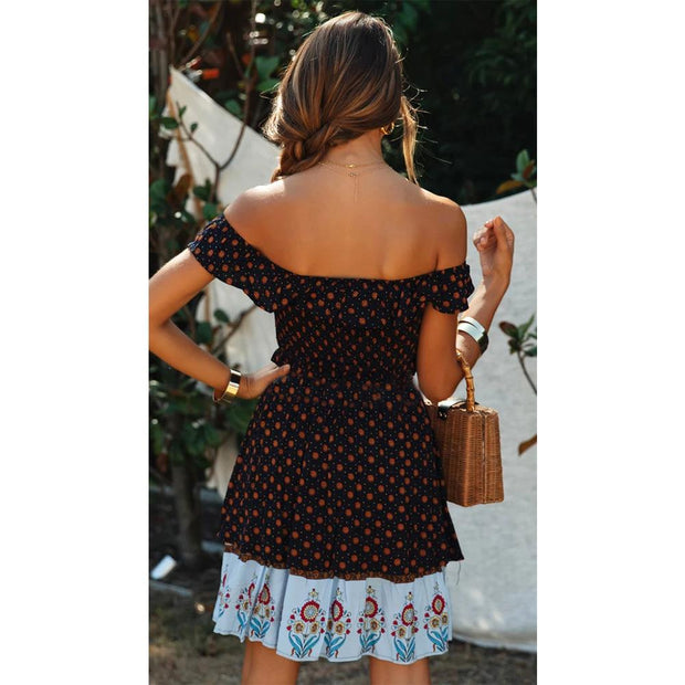 Holiday style  shoulder positioning lace up mesh red floral dress