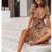 Lace up V-neck leopard print single breasted dress