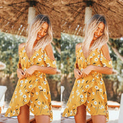 Sun flower print Ruffle irregular suspender dress