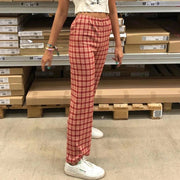 British style red checked slim high waist straight trousers