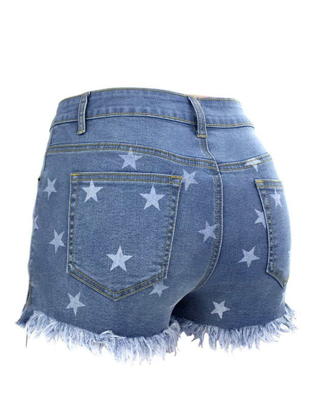 Star print ripped denim shorts