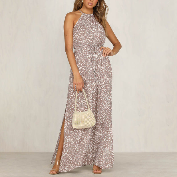 Sleeveless print split midi dress