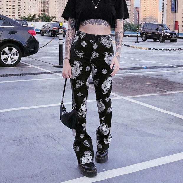 women high waist slimming Chinese style retro dragon print straight-leg pants