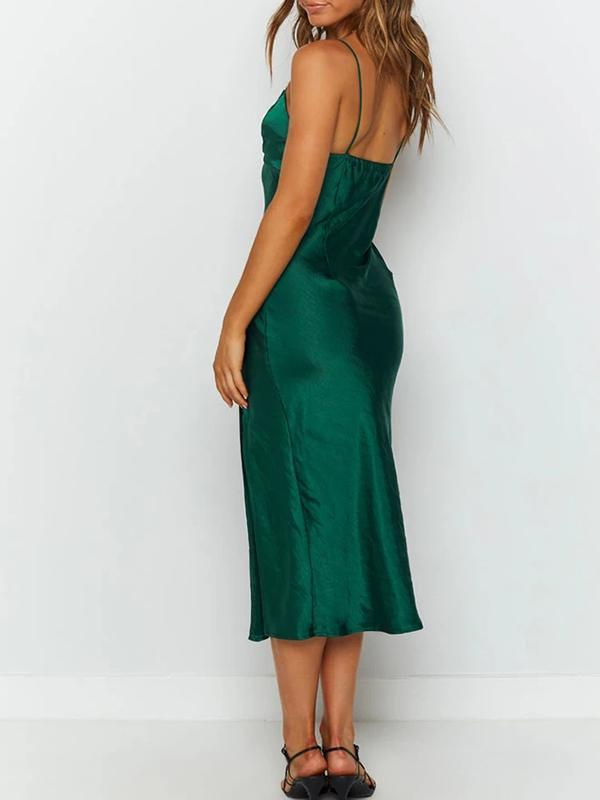 Women  V Neck Straps Split Silky Midi Dress
