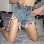 Women's Fashion Wild Hole Wide Leg Denim Shorts