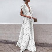 Sexy V Neck Wave Point Evening Maxi Dress