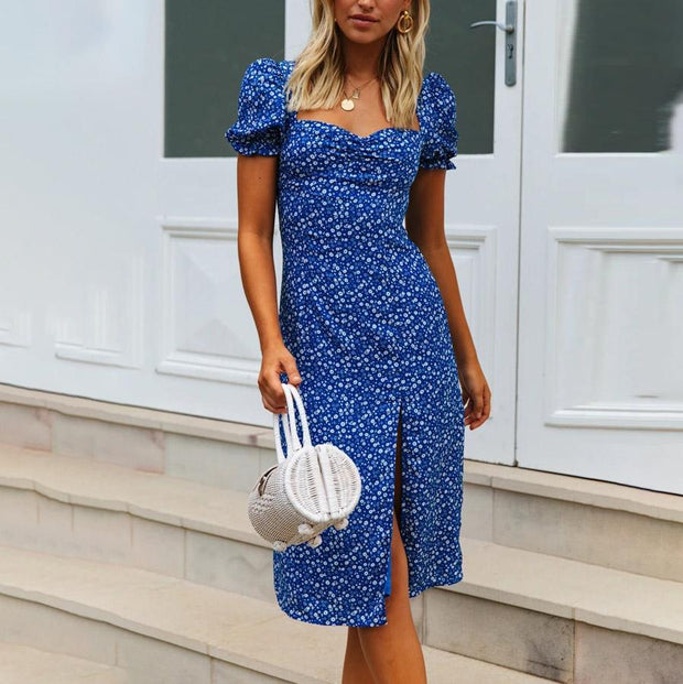 French Short Sleeve Midi Dress