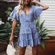 Short Sleeved V-Neck Print Dress