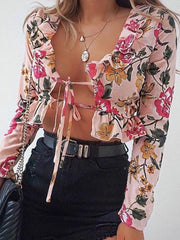 Sexy printed pink cardigan
