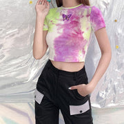 Women Butterfly Tie-Dye Navel T-shirt