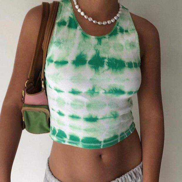 Women's round neck logistics fashion street shooting trend printing slim Crop top