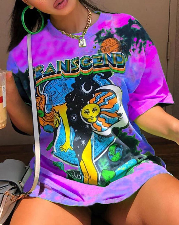 Women color print long T-shirt
