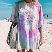 Women Casual daily tie-dye printed short-sleeved T-shirt
