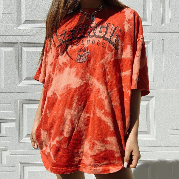 Tie dye letter printed round neck T-shirt