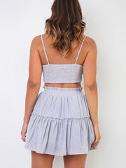 straps Ruched gathered bust Shirred back Two-piece set
