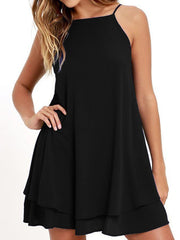 Spaghetti Strap  Asymmetric Hem  Plain Shift Dress