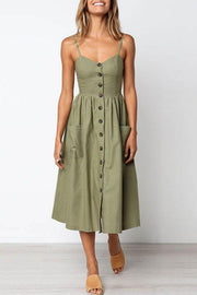 Spaghetti StrapSingle Breasted Plain Sleeveless Midi Dress