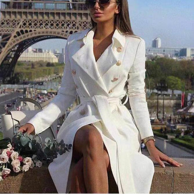 Sexy V Collar Wide Lapel Plain Slim Waisted Long Sleeves Wind Coat Dress
