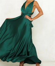 Sexy deep v-neck backless pure color long dress