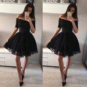 Sexy One-Shoulder Half Sleeves Skater Dress