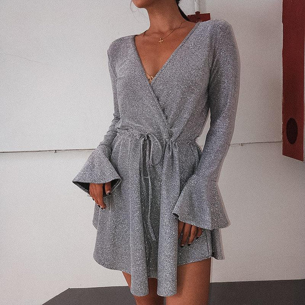 V-Neck Tie With Flared Sleeve   Hem Dress