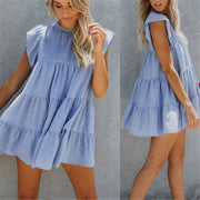 Sweet Round Collar Plain Ruffled Loose Vacation Dress