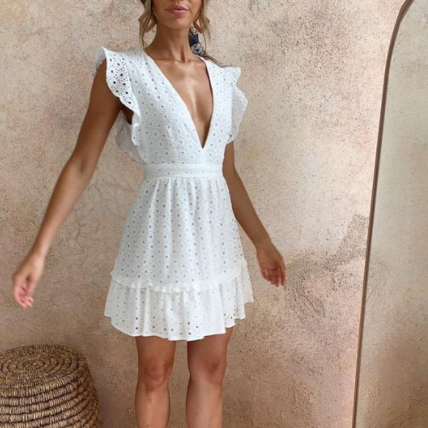 Sexy Deep V-Neck Lace Dress