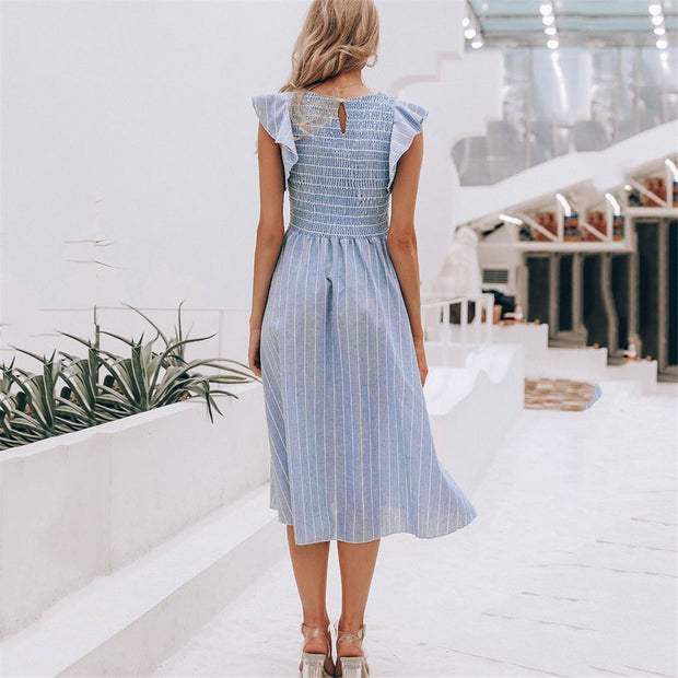 Sweet Elastic Bust Striped Ruffled Sleeve Vacation Dress