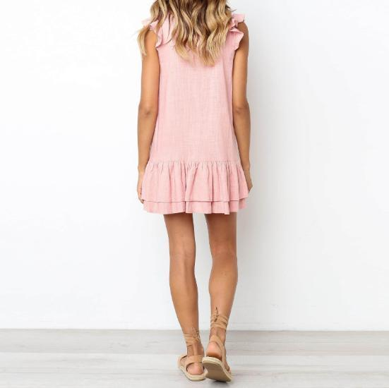 Short Sleeved V-Neck   Single-Breasted Ruffled Hem Dress