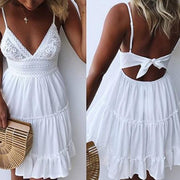 Sexy Lace Sling Stitching Mini   Dress