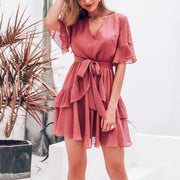 V-Neck Chiffon Ruffled Elegant Dress