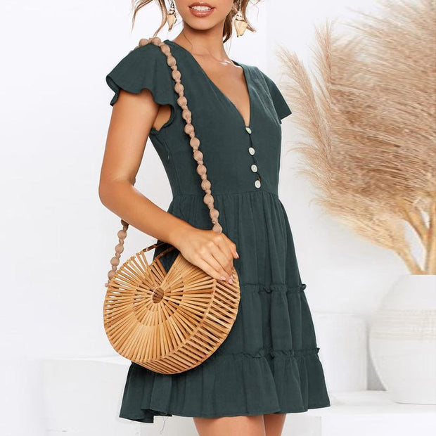 Sexy V-Neck Solid Ruffled Waist Waist Dress