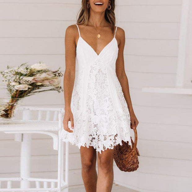 Fashion Sexy V-Neck Sling Lace   Stitching Dress